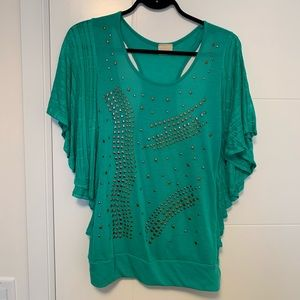 Tops - Pretty Teal Top with Open Back and Stud Detail